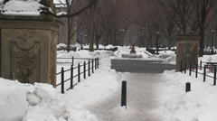 CENTRAL PARK, NEW YORK - SNOW COVERED PATH Stock Footage