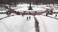 New York Central Park  FOUNTAIN,  PAN UP SNOW Stock Footage
