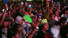 Crowd Cheering at Bangkok Shutdown Demonstratinos in Siam Square, Thailand Stock Footage