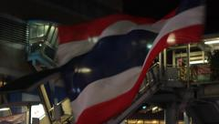 Thai Flag Swaying in the Air During Bangkok Protests, Thailand Stock Footage