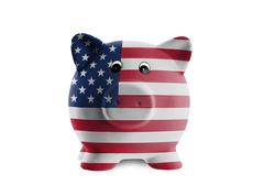 ceramic piggy bank with painting of national flag - stock photo