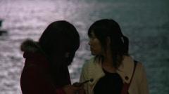 2 girls at huangpu river Stock Footage