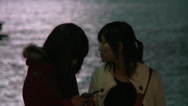 Stock Video Footage of 2 girls at huangpu river