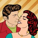 Stock Illustration of pop art kissing couple