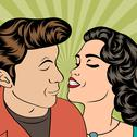 Stock Illustration of man and woman love couple in pop art comic style