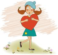 Young girl holds a heart Stock Illustration