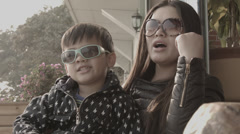 Mother and Son sing a song in Xiamen Stock Footage