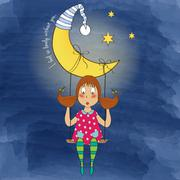 Nostalgic young girl swinging in a swing hanging from the moon Stock Illustration