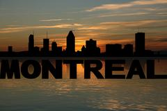 Montreal skyline reflected with text and sunset illustration Stock Illustration