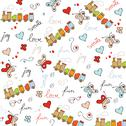 Stock Illustration of trains, wagons and rails , doodle  seamless pattern
