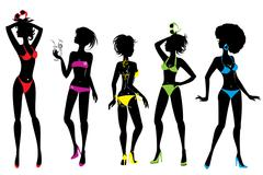 set of woman silhouettes in different colors bikini swimwear isolated on whit - stock illustration
