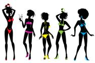 Stock Illustration of set of woman silhouettes in different colors bikini swimwear isolated on whit
