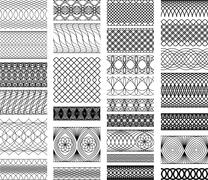 set of vintage backgrounds, guilloche ornamental element for certificate, mon - stock illustration