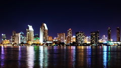 San Diego Skyline & Reflection at Night Time Lapse Stock Footage