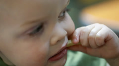 a toddler eating french fries - stock footage