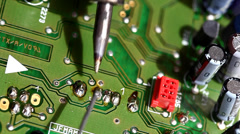 Soldering tin and circuit,electronic circuit board Stock Footage