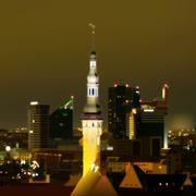 Stock Illustration of night illumination cityscape of tallinn city estonia