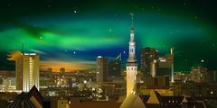 Stock Illustration of night illumination cityscape of tallinn