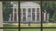 Stock Video Footage of ext. day historic grounds from rotunda window