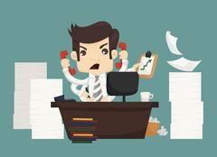 Businessman work hard and busy Stock Illustration