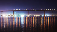 Stock Video Footage of Coronado Bridge at Night Time Lapse