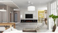 luxury apartment interior with fireplace - stock illustration