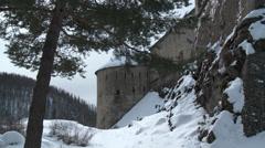 Colmar Les Alpes Fort de Savoie Turret Through Trees Stock Footage