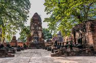 Stock Photo of wat mahathat temple ruins ayutthaya bangkok thailand