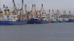 Arnemuiden fishing fleet, fishing vessels moored in seaport, The Netherlands Stock Footage
