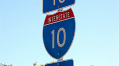 Interstate 10 Sign 01 HD Stock Footage