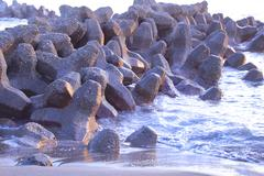 Wave energy dissipating concrete block - stock photo