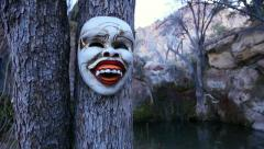 Ritual Mask From Bali in Scary Landscape Medium Close Up Stock Footage