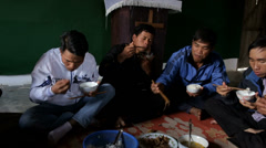 Sharing a Meal in Vietnam Stock Footage
