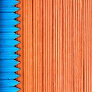 composition with blue and red structure wooden planks - stock photo