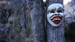 Ritual Mask From Bali in Scary Landscape Close Up Stock Footage