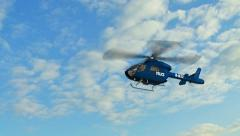 Police Helicopter fly over Stock Footage