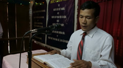 Singing at A Vietnamese Home Church Stock Footage