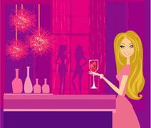 Beautiful disco girl with drink Stock Illustration