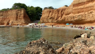 Stock Video Footage of Europe Spain Balearic Ibiza coves and landscapes 045 sa caleta bay with a break