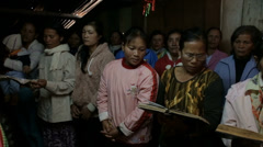 Women Sing Hymn at a Home Church in Vietnam Stock Footage