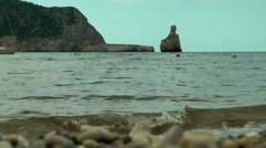 Europe Spain Balearic Ibiza coves and landscapes 012 the bay cala benirras Stock Footage