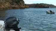 Stock Video Footage of Europe Spain Balearic Ibiza coves and landscapes 004 boats in es torrent bay