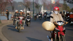 Motorcycle Traffic in Da Lat, Vietnam Stock Footage