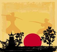 Old paper with samurai silhouette Stock Illustration