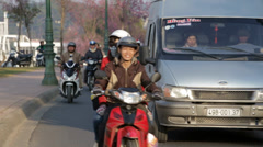 Motor Scooter Traffic on a Street in Da Lat, Vietnam Stock Footage