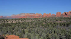Wide shot pan of Sedona's playground of hiking and biking trails Stock Footage