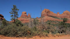 Static and Slow Pan of red desert mountains in Sedona Stock Footage