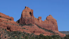Red mountains with blue sky in Sedona, Arizona Stock Footage