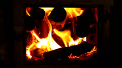 Brick stoves with fire. Stock Footage