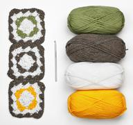 Knitting pattern, crochet and color yarn Stock Photos